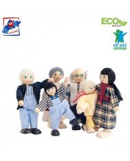 Woody 90620 Eco Wooden / material playing dolls - Farm family (6pcs) for kids 3y+