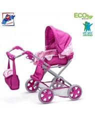 Woody 91505 Plastic / Metal Pink Unicorn 2in1 Doll pram (3pcs) for kids 3y+ (63x39x61cm)