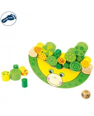 Small Foot 11058 Eco Wooden Educational Balancing Frog with small shapes (20pcs) for kids 3y+ (16x2x8cm)
