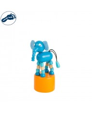 Small Foot 11119 Eco Wooden funny press dancing animal toy for kids 3 y + (11x5cm) Elephant