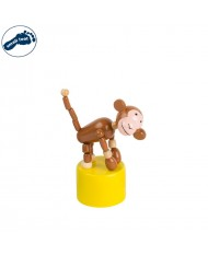 Small Foot 11119 Eco Wooden funny press dancing animal toy for kids 3 y + (11x5cm) Monkey