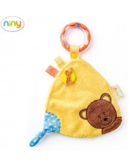 Niny 700011 Soft Educational baby cloth with rattle for kids 0+ months (18x26cm) Yellow