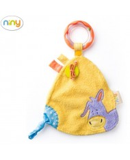 Niny 700014 Soft Educational baby cloth with rattle for kids 0+ months (17x24cm) Yellow