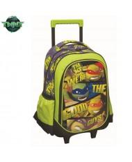 Nickelodeon Ninja Turtles 2in1 Trolley Backpack on wheels with retractable handle (55x35cm) Green