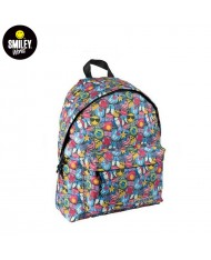 SMILEY Crazy series Universal Soft Backpack with 2 zipped compartments (30x40x15cm) Multi-color Smile print
