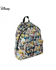 Disney Emoji Crazy series Universal Soft Backpack with 2 zipped compartments (30x40x15cm) Black with Multi-color Emoji print