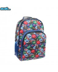 MUST Energy series Universal School Backpack with 3 zipped compartments (33x16x45cm) Blue with multi-color Caps print