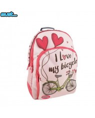 MUST Energy series Universal School Backpack with 3 zipped compartments (33x16x45cm) Pink with letters and Bicycle