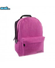 MUST Monochrome series Universal Soft Jeans Backpack with 3 zipped compartments (32x19x42cm) Pink