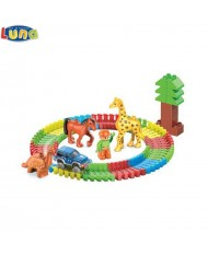Luna ZOO series Glows in the dark Set of Flexi Construction blocks with animals and humans (86pcs) for kids 3+ years