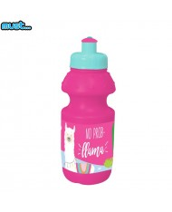 MUST Colorful Plastic Bottle (350ml) for kids 3+ years Pink with Llama