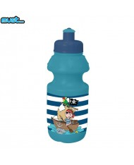 MUST Colorful Plastic Bottle (350ml) for kids 3+ years Blue with Pirates