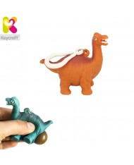 KeyCraft NV378 Funny Back Squeezy Dinosaur Anti-stress Keyring 5.5cm Orange