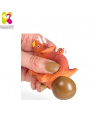 KeyCraft NV378 Funny Back Squeezy Triceratops Anti-stress Keyring 5.5cm Orange