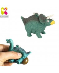 KeyCraft NV378 Funny Back Squeezy Triceratops Anti-stress Keyring 5.5cm Blue