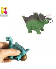 KeyCraft NV378 Funny Back Squeezy Triceratops Anti-stress Keyring 5.5cm Green