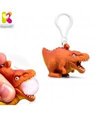 KeyCraft NV378 Funny Front Squeezy T-Rex Dinosaur Anti-stress Keyring 5.5cm Orange