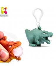 KeyCraft NV378 Funny Front Squeezy T-Rex Dinosaur Anti-stress Keyring 5.5cm Blue