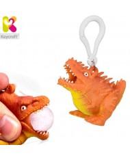 KeyCraft NV378 Funny Front Squeezy Stegosaurus Anti-stress Keyring 5.5cm Orange
