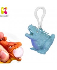 KeyCraft NV378 Funny Front Squeezy Stegosaurus Anti-stress Keyring 5.5cm Blue