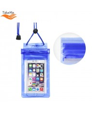 TakeMe Universal Waterproof Slim Case with zipper closing (10.5x18.5cm) for mobile devices till 6 inch screen Blue