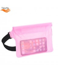 TakeMe Universal Waterproof Waist bag with 3x zipper closing (20x18.5) for mobile devices Transparent Pink
