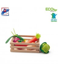 Woody 91169 Eco Wooden Crate (15.5x11cm) with wooden vegetables (6pcs) for kids 18m+ Multi-color