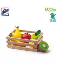 Woody 91170 Eco Wooden Crate (15.5x11cm) with wooden Fruits (6pcs) for kids 18m+ Multi-color