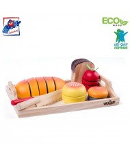 Woody 91904 Big set with Full breakfast tray - cutting (19pcs) for kids 3+ years