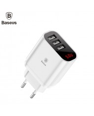 Baseus Mirror Lake Intelligent Wall Travel Charger Adapter with Voltage/Power Display 3x USB 3.4A White