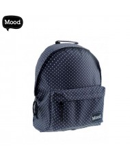 MOOD Sigma series Soft Backpack with 2 zipped compartments (30x40x15cm) Blue with white dots