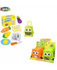 Luna Cook set in plastic luggage with handle and wheels 20x7x21cm (14 pcs) for kids 3+ years Green