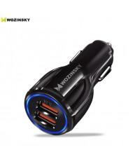 Wozinsky Universal Car Charger 2x USB Quick Charge 3.0 QC3.0 3.1A Black