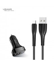 Usams Universal Dual Travel Car Charger 2.1A with Type-C Data and Charging Cable 1m Black