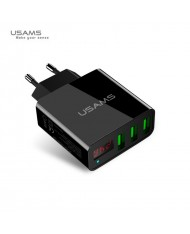 Usams US-CC035 Smart Power Triple USB Socket Fast USB Travel Charger with LED current display Black