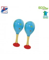 Woody 90712 Eco Wooden musical instrument - Blue maracas (2pcs) for kids 3y+ (20cm)