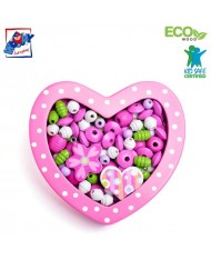 Woody 90214 Eco Wooden Didactic beads for girls - Small pink heart for kids 3y+ (18x15x2.8cm)