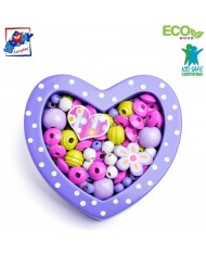 Woody 90216 Eco Wooden Didactic beads for girls - Small violet heart for kids 3y+ (18x15x2.8cm)