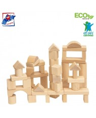 Woody 90650 Eco Wooden Educational shape building blocks (50pcs) for kids 1y+