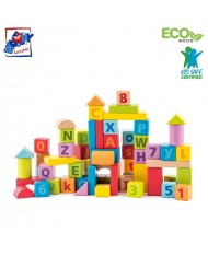 Woody 91842 Eco Wooden Educational Colored building blocks with Alphabet (60pcs) for kids 2y+