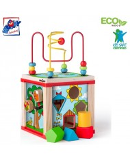 Woody 91916 Eco Wooden Educational Multi-activity instructional labyrinth-cube (6pcs) for kids 2y+
