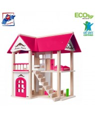 Woody 91874 Eco Wooden Modern Anna-Marie playing house with furniture (14pcs) for kids 3y+ (53.5x36cm)
