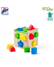 Woody 91866 Eco Wooden Educational color shape sorting box constructor (14pcs) for kids 2y+ (14x16.5x14cm)