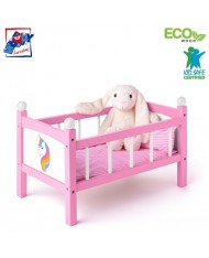 Woody 91310 Eco Wooden Unicorn doll bed with bedding for kids 3y+ (48.2x36x12cm)