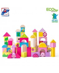 Woody 91309 Eco Wooden Educational Colored picture building blocks (66pcs) for kids 2y+