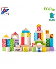 Woody 90906 Eco Wooden Educational Colored Building blocks in sorting bucket (50pcs) for kids 1y+