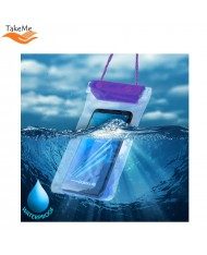 TakeMe Universal Waterproof Case with strap (10.5x18cm) for mobile devices till 6 inch screen Violet