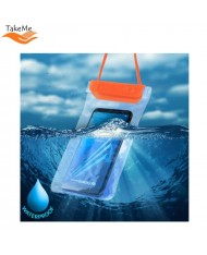 TakeMe Universal Waterproof Case with strap (10.5x18cm) for mobile devices till 6 inch screen Orange