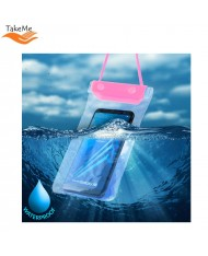 TakeMe Universal Waterproof Case with strap (10.5x18cm) for mobile devices till 6 inch screen Pink