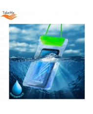 TakeMe Universal Waterproof Case with strap (10.5x18cm) for mobile devices till 6 inch screen Green